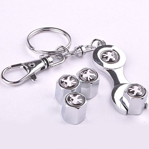 Set of 4 Car Wheel Tyre Valve Dust Caps Cover with Spanner Keying with Logo PEUGEOT in Black Colour
