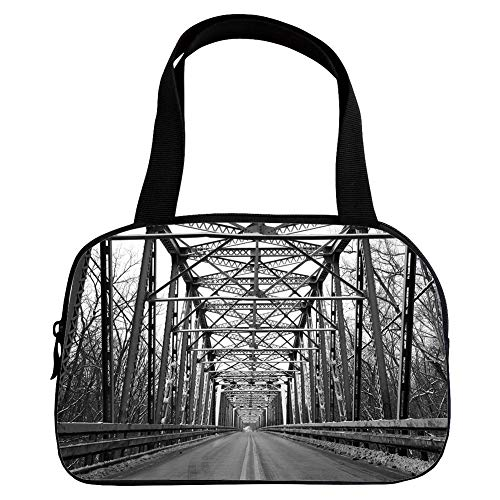 Personalized Customization Small Handbag Pink,Black and White,Road Through Bridge Tunnel Urban City and Modern Architecture Image Decorative,Black White Grey,for Girls,Personalized Design.6.3