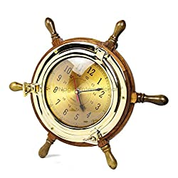 Nagina International Exclusive Pirate's Nautical Ship's Steering Wheel Styled Porthole Clock | Lavish Wall Decor Gifts & Collectible (9'' Full Size)