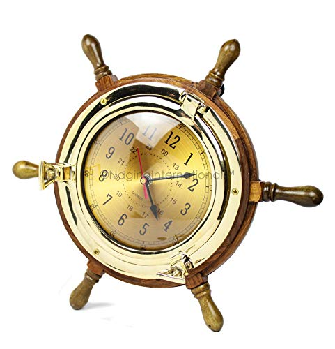 Nagina International Exclusive Pirate's Nautical Ship's Steering Wheel Styled Porthole Clock | Lavish Wall Decor Gifts & Collectible (9'' Full - Porthole Clock Quartz Brass