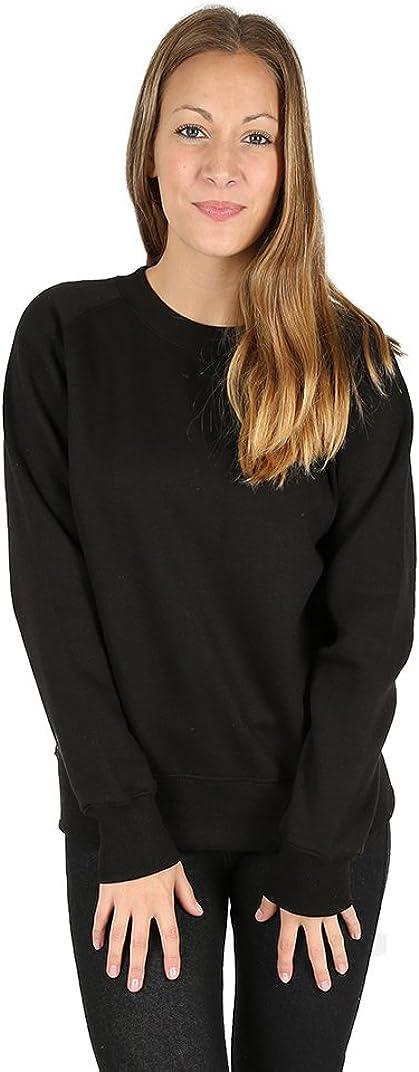 Parsa Fashions /® Womens Plain Classic Sweatshirt Loungewear Sweater Cosy Fleece Full Sleeve Jumper Ladies Gym Workout Top Casual Work Leisure Sport Baseball Pull Over UK 6-14