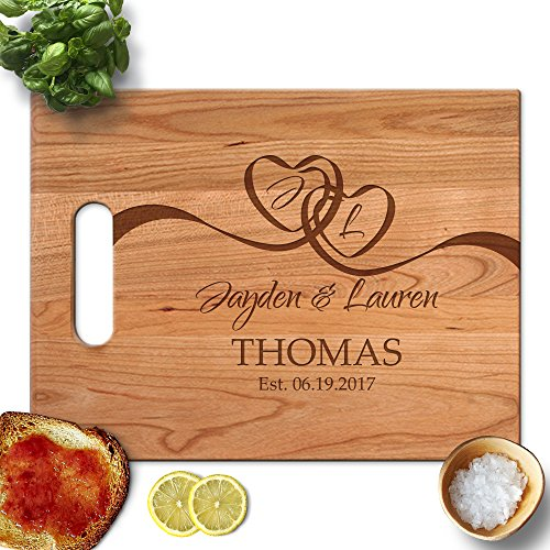 Froolu Two Heart Ribbon personalised chopping board for New House Owner Christmas (Personalised Ribbon)