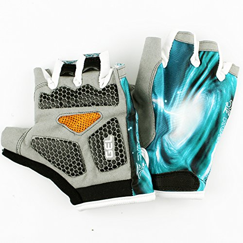 Meanhoo Non-Slip Gel Pad Gloves Men's Women's Sportswear Bike Bicycle Cycling Riding Short Half Finger Gloves Breathable Mesh blue color