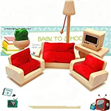 Wooden Doll House Living Room Set Sofa Table Furniture Dollhouse Miniature Kid Role Play Toy Gift