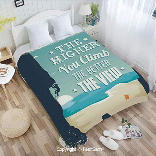 PUTIEN Flannel Fleece Blanket with 3D The Higher You Climb The Better The View Seashore and Mountain Climber Image Print Blanket for Home(59Wx78L)