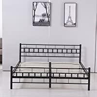 Walcut 10Inch Height Fodable Set-up Steel Bed Frame/Platform Bed Bedroom Furniture (Queen)