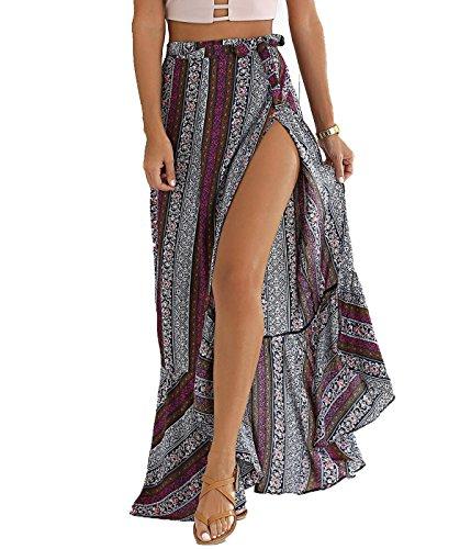 BIYOUTH Women's High-waisted Boho Asymmetrical Hem Tie up Maxi Beach (Double Slit Skirt)