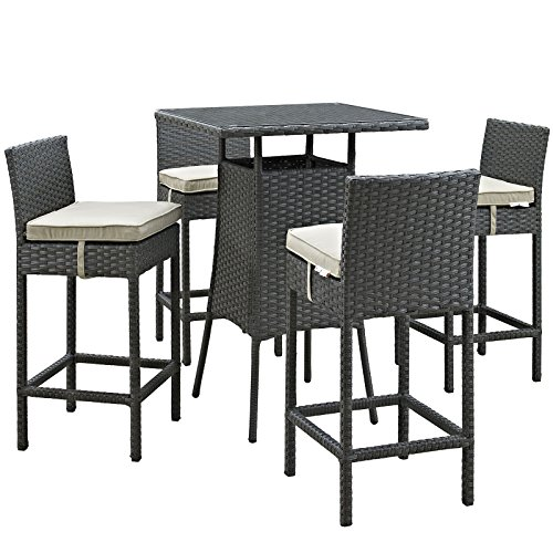 Lexington Pub Table (Modway Sojourn 5 Piece Outdoor Patio Rattan Pub Set With Tempered Glass Top And Sunbrella Brand Antique Beige Canvas Cushions)