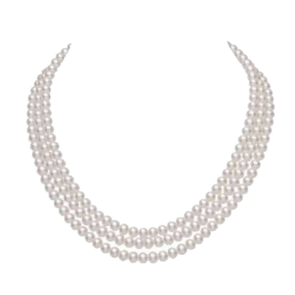 JYX Pearl Triple Strand Necklace AAA Quality 8-9mm Rround White Freshwater Cultured Pearl Necklace for Wome Gift 20''