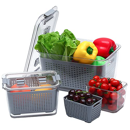 HOEYMIOA Fruit Storage Containers for Fridge, Fresh Produce Saver Storage Containers for Fridge, Easy to Clean Fridge Organizer, Keep Vegetables and Fruits Fresh (Gray, 3 Sizes)