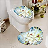 L-QN 2 Piece Toilet lid Cover Toilet mat Arabian Eastern Decor Ivy Swirls Flowers on Sky Blue Backdrop Artwork Print Multicolor High Density Space Memory Cotton