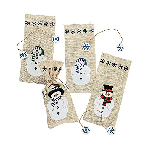(Painted Canvas Snowman Treat Bags (12 Pack) 3 3/4