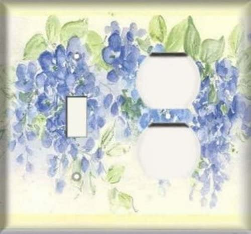 Multicolor 3dRose lsp/_108106/_2 Aquas and blues flowered frame floral art Double Toggle Switch