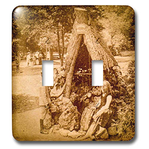 Saratoga Single Light - 3dRose Scenes from the Past - Stereoview - 1875 Stereoview Card Image Spring Water Well Saratoga Springs New York - Light Switch Covers - double toggle switch (lsp_300302_2)