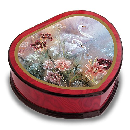 Jewels By Lux Artist Lena Liu - Heart Shape Swan with Daylilies Music Box (Lena Liu Music Box)