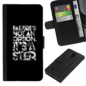 Billetera de Cuero Caso Titular de la tarjeta Carcasa Funda para Samsung Galaxy Note 4 SM-N910 / failure is not an option poster text / STRONG