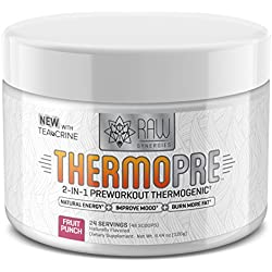 Thermo Pre Workout-All Natural Preworkout Thermogenic Fat Burner for Women and Men, Sustained Energy Weight Loss Powder with Teacrine for Cardio with No Artificial Sweeteners, Fruit Punch, 24 Serving