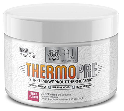 RAW Synergies Pre Workout Thermogenic Fat Burner Powder for Women and Men, All Natural Energy Weight Loss Supplement Focus Metabolism Booster Drink No Artificial Sweeteners, Fruit Punch, 24SV