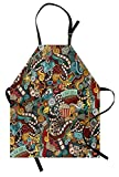 Ambesonne Doodle Apron, Cinema Items Combined in an Abstract Style Popcorn Movie Reel The End Theatre Masks, Unisex Kitchen Bib Apron with Adjustable Neck for Cooking Baking Gardening, Multicolor
