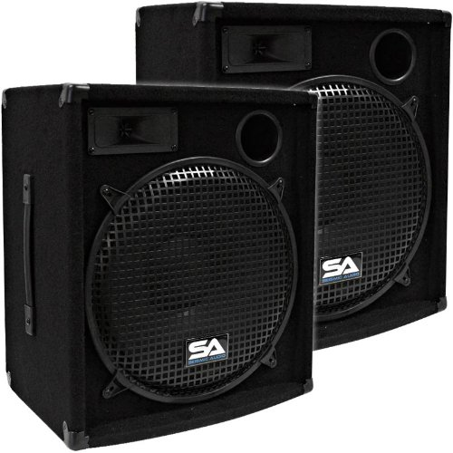 Seismic Audio - Pair of 15'' PA DJ Speakers 600 Watts PRO Audio - Mains, Monitors, Bands, Karaoke, Churches, Weddings by Seismic Audio