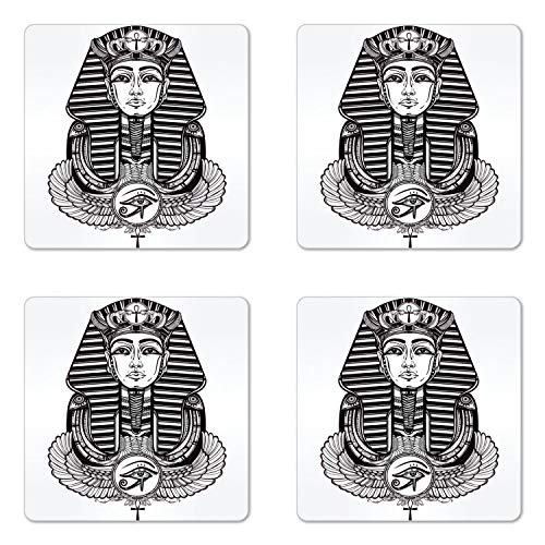 Ambesonne Egyptian Coaster Set of Four, Hand-Drawn Vintage Tattoo Art of an Ancient Figure Pharaoh with Winged Ankh, Square Hardboard Gloss Coasters for Drinks, Black and White