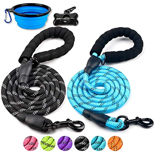 DOYOO Dog Leash 6 FT Thick Durable Nylon Rope – Comfortable Padded Handle Reflective Rope Dog Leash for Medium Large Dogs with Collapsible Pet Bowl and Garbage Bags