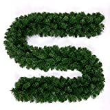 JGDD Christma Artificial Pine Garland for Xmas Decorations Wall Door Stairs Ornaments 9ft / 2.7M … (1 PCS)