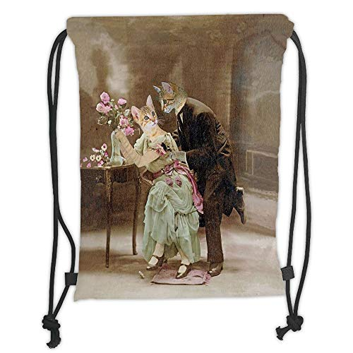 (Custom Printed Drawstring Sack Backpacks Bags,Cat,Vintage Painting of Two Kittens Dating Victorian Couple Romance Love Theme,Brown Pale Green Pink Soft Satin,5 Liter Capacity,Adjustable String Closure)