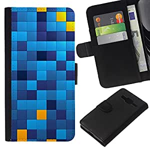 KingStore / Leather Etui en cuir / Samsung Galaxy Core Prime / Patrón cuadrados Chechkered Azul Amarillo