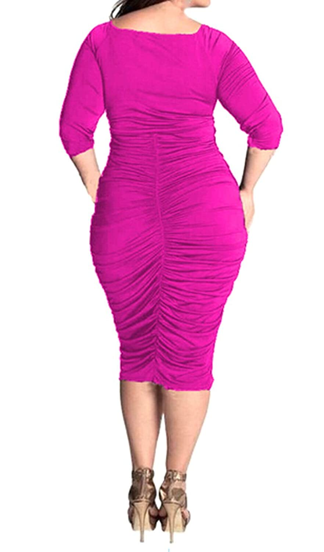 XQS Womens Plus Size V-neck Side Shirring Midi Dress