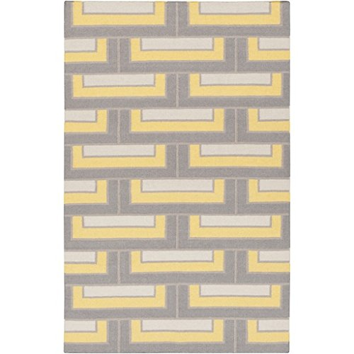2' x 3' Building Bricks Gray, Ivory White and Yellow Reversible Wool Area Throw Rug