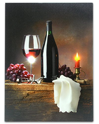 BANBERRY DESIGNS Wine Canvas Print with LED Lights - Wine Picture with Glowing Candle - Wine Glass, Wine Bottle, Napkin, Grapes, Cork and Bottle Opener - 16x12 Inch
