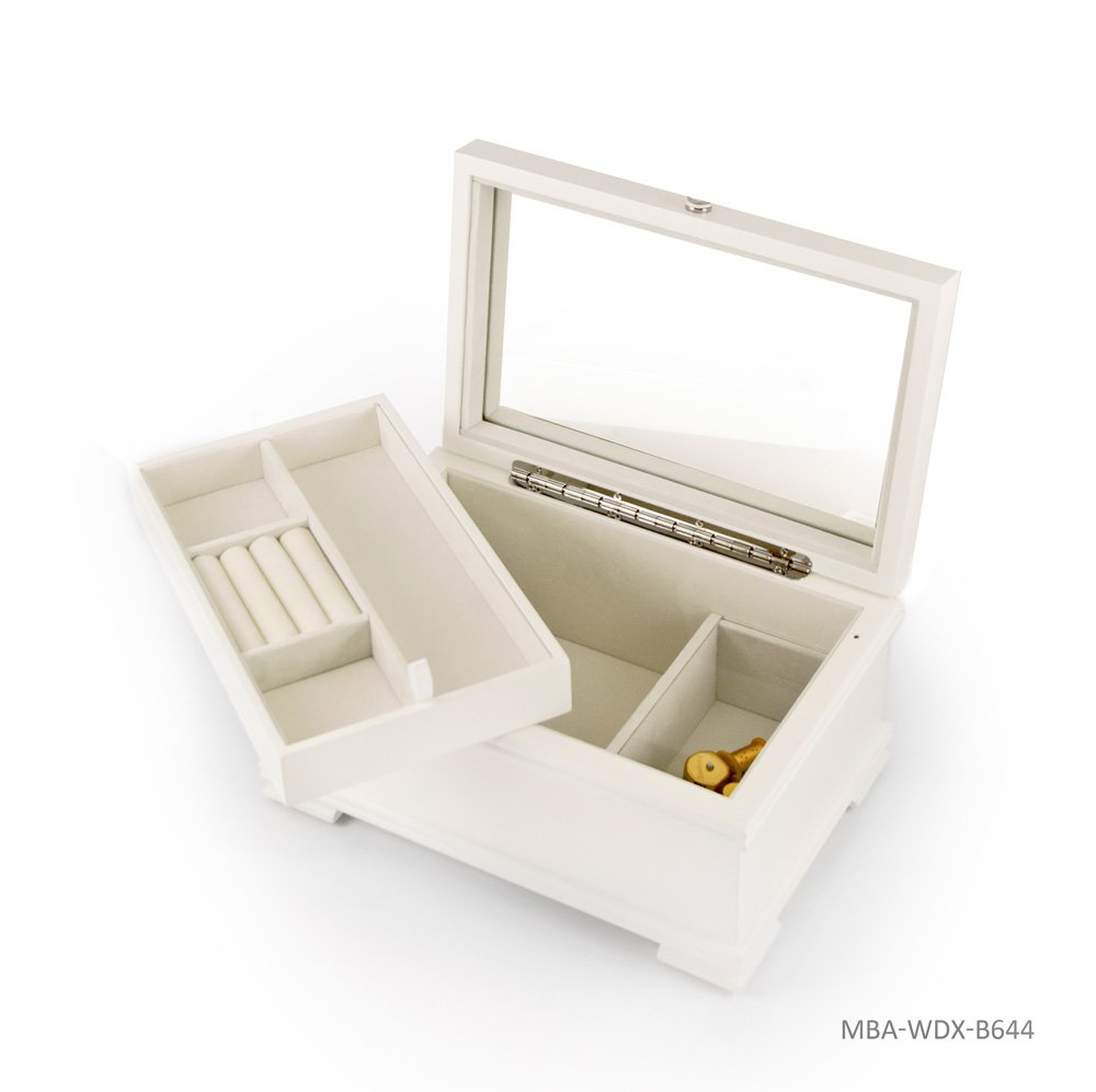 Contemporary 18 Note Matte White Musical Jewelry Box with Lift-Up Tray - There is No Business Like Show Business by MusicBoxAttic (Image #3)