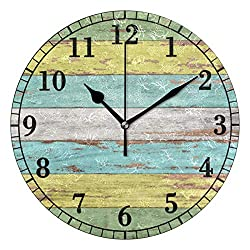YiGee Wooden Quiet Wall Clock - 10 Inch Quality Quartz Battery Operated Round Analog Silent Easy to Read Home/Office/School Clock - Vintage Rustic Country Tuscan Style