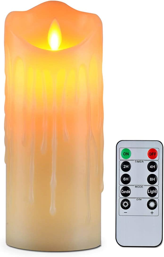 Flameless Candles with 10 Key Remote Timer Flickering Tear Wave Shaped Tealight Size 3