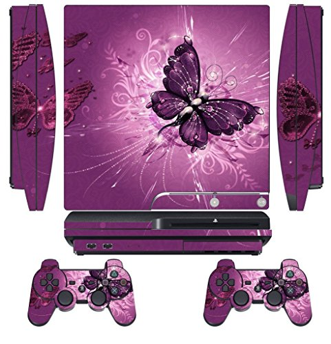 Skin Sticker for PS3 PlayStation 3 DualShock 3 Decals Custom Cover Cases Modding Game Sixaxis Vinyl Skins for Sony Play Station 3 Slim Console 2 Remote Controllers - Lavender Butterfly (Covers Skin Ps3)