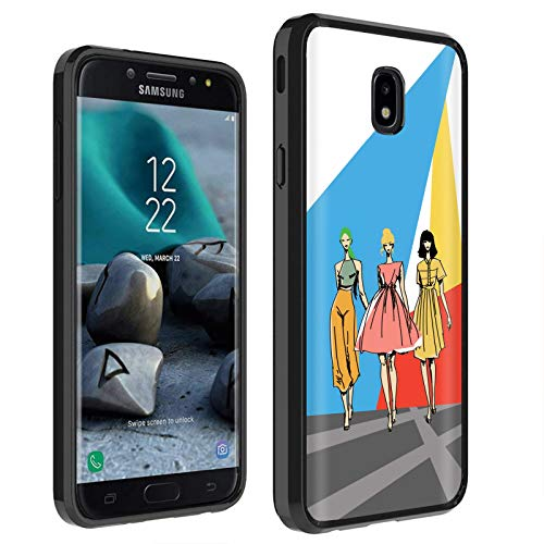 (Samsung Galaxy (J7 2018) (J737) Case [TalkingCase] Black Premium Thin Edge Bumper Case Samsung for Galaxy (J7 2018),J7 Aero,J7 Refine,J7 Star,J737P,J7 V 2nd Gen [Runway Fashion Girls] Print in USA)