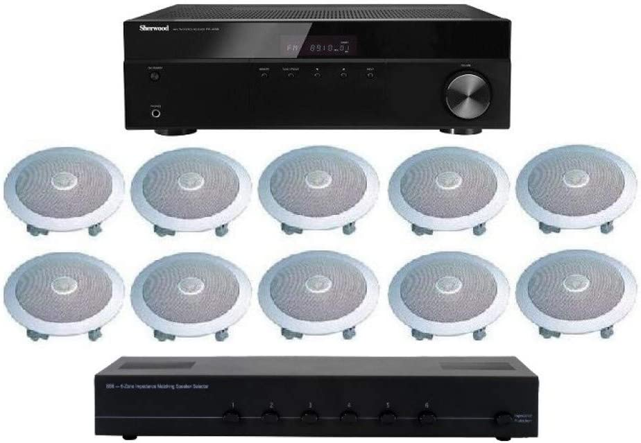 Distributed Home Audio Whole House Sound System- Ceiling Speakers for 5 Rooms