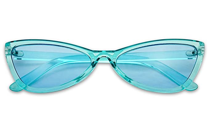 4dd211fce92 SunglassUP - Round Slim Bow-Tie Sunglasses Narrow Cat Eye Crystal Candy  Color Shades (