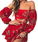 ALAIX Women's Boho Off Shoulder Flower Printed Long Sleeve Romper Short Jumpsuit Playsuit Red-M
