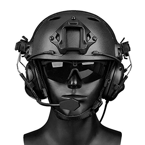 Womdee Tactical Headset, Electronic Shooting Earmuff Aviation Headset, Ear Protection Noise Reduction Sound Amplification Ear Muffs for Fast Helmets and Peltor Helmet Rail Adapter Set