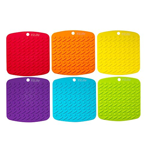 "Premium Silicone Pot Holder,Trivets,Hot Mitts,Spoon Rest And Garlic Peeler Non Slip,Heat Resistant Hot Pads,Multipurpose Kitchen Tool. 7x7"" Potholders(Set of 6) Non Slip,Dishwasher Safe,Durable."