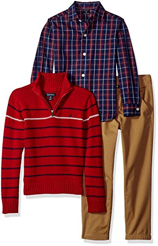 Nautica Boys' Three Piece Set with Zip Sweater, Woven Shirt, and Twill Pant, Red Rouge, 2T by Nautica