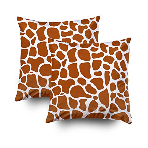 ROOLAYS Decorative Throw Square Pillow Case Cover 18X18Inch,Cotton Cushion Covers pattern giraffe skin texture Both Sides Printing Invisible Zipper Home Sofa Decor Sets 2 PCS Pillowcase