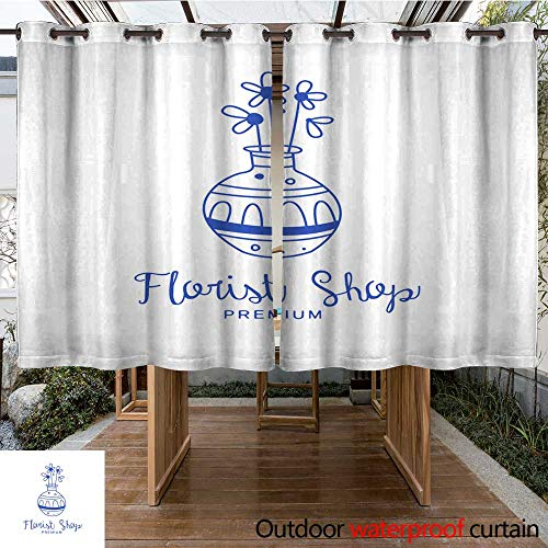 RenteriaDecor Outdoor Curtains for Patio Sheer Florist Shop Premium Logo Badge for Floral Boutique Florists Hand Drawn Vector Illustration in Blue Color on a White bac W108 x L72