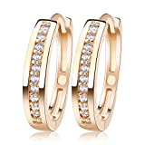 uPrimor Elegant 22mm Medium Size Hoop, Three Layers Gold Plated Earrings Paved With AAA Austrian Cubic Zirconia, 22m 4mm