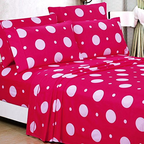 American Home Collection Deluxe 6 Piece Printed Sheet Set Highest Quality Of Brushed Fabric, Deep Pocket Wrinkle Resistant - Hypoallergenic (Queen, Deep Fuchsia Circles & Dots) (Sheets Bed Circle)