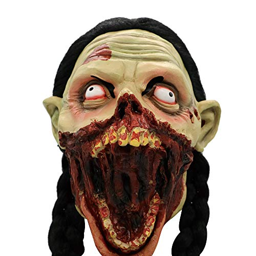 Stheanoo Scary Zombie Latex Mask with Hair Cosplay Prop Helmet Halloween Costume Perfect Decoration for Parties
