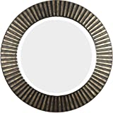 This Hecate Bronze Beveled Round Decorative Wall Mirror Makes a Bold Accent for Your Living Room, Dinning Room, Entry, Bedroom or Bathroom. The Bronze Finish of the Carved-ring Frame Will Be a Focal Point. Mirrors Are the Prefect Decor Accessory to Comple