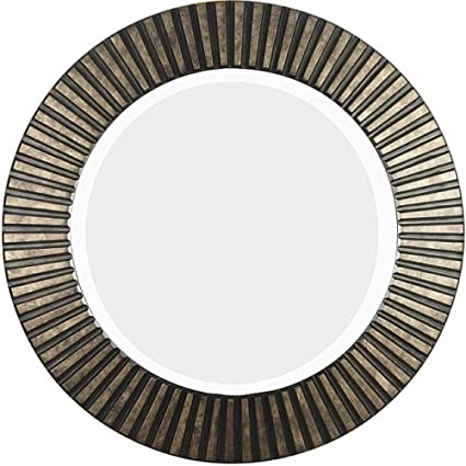 This Hecate Bronze Beveled Round Decorative Wall Mirror Makes A Bold Accent For Your Living Room